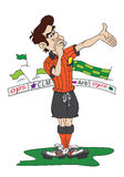 Soccer referee. Cartoon style occer referee whistling a foul; supporters in background Royalty Free Stock Photography