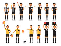 Soccer referee character set Stock Photo