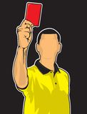 Soccer referee giving red card Stock Image