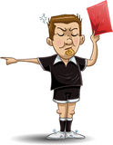 Soccer Referee Holds Red Card. Illustration of a soccer referee whistles, holds out a red card and points to the side vector illustration