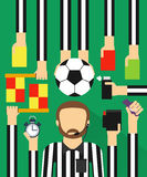 Soccer referee modern design flat set Stock Photos