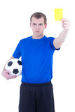 Soccer referee showing yellow card isolated on white Stock Photos