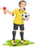 Soccer referee whistles and shows red card. Royalty Free Stock Photo