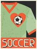 Soccer. Retro poster in flat design style Stock Photography