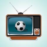 Soccer retro tv. Soccer ball on the screen of retro TV Stock Photo