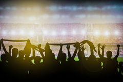 Soccer or rugby supporters in the stadium Stock Photos