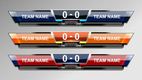 Soccer Score Broadcast Graphics. Score Broadcast Graphic Template for soccer and football, vector illustration Stock Photography