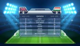 Soccer scoreboard and football stadium vector mockup Stock Photography