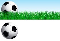 Soccer set. Vector banner of soccer ball on green grass, and soccer ball  isolated on white background Royalty Free Stock Photo