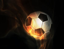 Soccer set ball on fire. Soccer ball set on fire on black background stock illustration