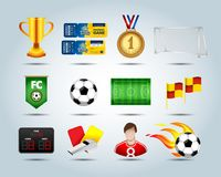 Soccer set of 3d icons with field, soccer ball, soccer ball in fire, trophy, corner flag, flag banner, medal, scoreboard, whistle,. Cool soccer 3d icons set Royalty Free Stock Images