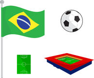 Soccer set with flag, ball, stadium and football ground. Vector symbol Soccer set with brazil flag, ball, stadium and football ground Royalty Free Stock Photos