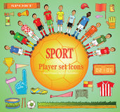 Soccer set of sport equipment. Doodle soccer set of sport equipment , soccer player Icons - hand drawn - Vector illustration Signs on color background Royalty Free Stock Photos