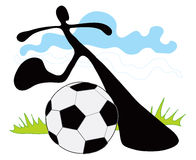 Soccer shadow man Royalty Free Stock Photo