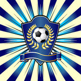 Soccer shield. Theme over colorful striped background Royalty Free Stock Photography