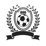 Soccer with shield wreath banner logo Royalty Free Stock Photos