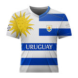 Soccer shirt in colors of uruguayan flag Royalty Free Stock Photos