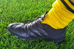 Soccer shoe and sock of right foot Royalty Free Stock Image