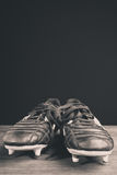 Soccer shoes. In blach and white Royalty Free Stock Image