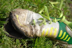 Soccer shoes. Soccer shoe dirty and worn Stock Photos