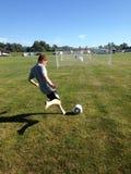 Soccer. Shooting on a goal. Feild. Scoring Royalty Free Stock Photos