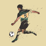 Soccer shooting ink splash. Soccer player shooting color ink splash design Stock Photo