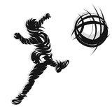 Soccer shooting ink style. Soccer player in action shooting design ink style Stock Photo