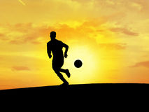 Soccer Silhouette. Concept of soccer player Stock Photos
