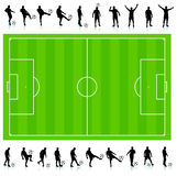 Soccer Silhouette Collection with Field Royalty Free Stock Images