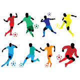 Soccer silhouette color Royalty Free Stock Photos