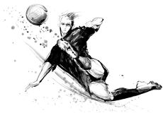 Soccer silhouette hand drawn sketch illustration. Football player in action on white background. Soccer silhouette hand drawn sketch illustration Stock Photos
