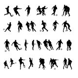 Soccer silhouettes. A collection or set of silhouettes with athletes playing soccer or football Stock Photography