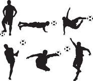 Soccer silhouettes Stock Images
