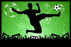 Soccer silhouettes on the abstract background