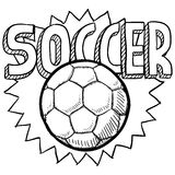 Soccer sketch. Doodle style soccer or football illustration in vector format. Includes text and ball Royalty Free Stock Image