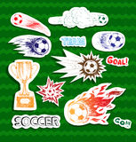 Soccer sketch stickers Stock Photos