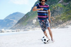 Soccer skill beach Royalty Free Stock Images