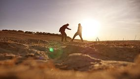 Soccer. sky two men play soccer sunlight football sunset the beautiful silhouettes sport against stock video footage