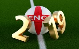 Soccer 2019 - Soccer ball in England flag design on a soccer field. Soccer ball representing the 0 in 2019. 3D Rendering royalty free illustration