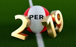 Soccer 2019 - Soccer ball in Peru flag design on a soccer field. Soccer ball representing the 0 in 2019. 3D Rendering vector illustration