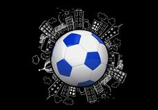 Soccer. Ball sport three-dimensional shape sphere single object illustration and painting royalty free illustration