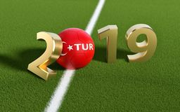 Soccer 2019 - Soccer ball in Turkey flag design on a soccer field. Soccer ball representing the 0 in 2019. 3D Rendering stock images