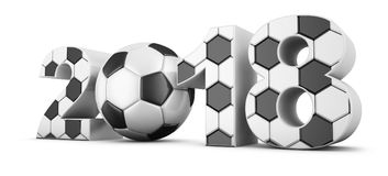 Soccer and 2018. Soccerl ball and volumetric inscription 2018. 3d render Royalty Free Stock Photography