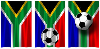 Soccer South Africa 2010. RSA flags with soccer ball. South Africa is the official host of the FIFA Soccer World Cup in 2010 stock illustration