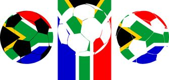 Soccer South Africa 2010. Soccer South Africa balls in national flag colors in vector. South Africa is the official host of the FIFA Soccer World Cup in 2010 vector illustration