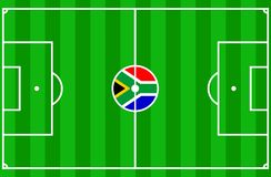 Soccer South Africa 2010. Vector of soccer field with flag of South Africa Royalty Free Stock Image