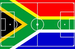 Soccer South Africa. Vector of soccer field with flag of South Africa royalty free illustration