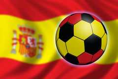 Soccer in Spain. Soccer ball and national flag of Spain Stock Image