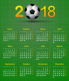 Soccer Spanish calendar for 2018 on green linen texture. Footbal Stock Photos