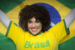 Soccer Sport Fan Supporter Brazil. Young woman. A fan / supporter from brazil Royalty Free Stock Photo
